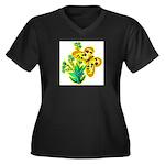 butterfly-3 Women's Plus Size V-Neck Dark T-Shirt