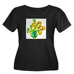 butterfly-3 Women's Plus Size Scoop Neck Dark T-Sh