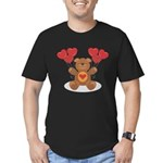 FIN-teddy-bear-hearts Men's Fitted T-Shirt (dark)