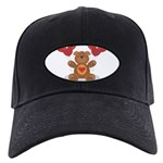 FIN-teddy-bear-hearts Black Cap with Patch