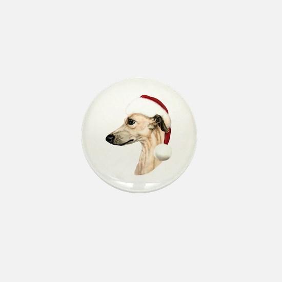 Fawn Whippet Santa Mini Button