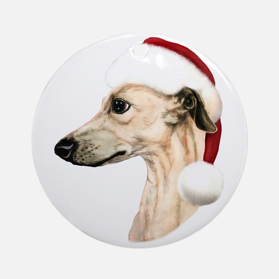 Fawn Whippet Santa Ornament (Round)