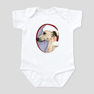 Fawn Whippet Santa Infant Bodysuit