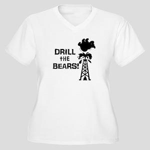 Drill the Bears Women's Plus Size V-Neck T-Shirt