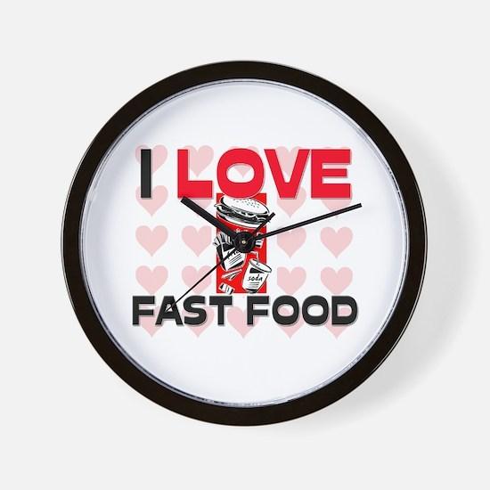 I Love Fast Food Wall Clock