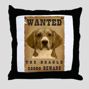 """""""Wanted"""" Beagle Throw Pillow"""