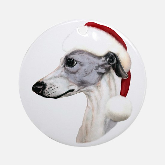 Blue & White Whippet Santa Ornament (Round)