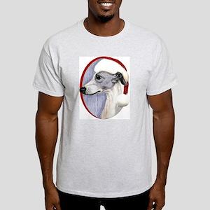 Blue & White Whippet Santa Light T-Shirt