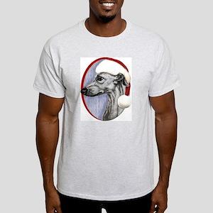 Black Whippet Santa Light T-Shirt