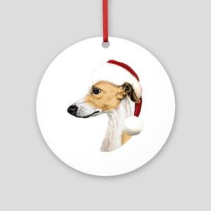 Tan & White Whippet Santa Ornament (Round)