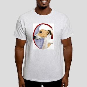 Tan & White Whippet Santa Light T-Shirt