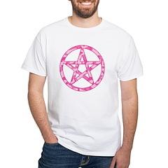 Pink Camo Pentagram White T-Shirt