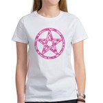 Pink Camo Pentagram Women's T-Shirt