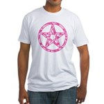 Pink Camo Pentagram Fitted T-Shirt