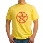 Pink Camo Pentagram Yellow T-Shirt