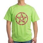 Pink Camo Pentagram Green T-Shirt