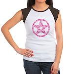 Pink Camo Pentagram Women's Cap Sleeve T-Shirt