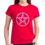 Pink Camo Pentagram Women's Dark T-Shirt