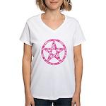 Pink Camo Pentagram Women's V-Neck T-Shirt