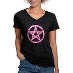 Pink Camo Pentagram Women's V-Neck Dark T-Shirt