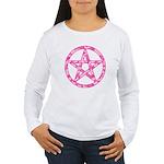 Pink Camo Pentagram Women's Long Sleeve T-Shirt