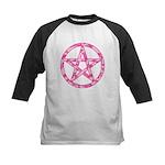 Pink Camo Pentagram Kids Baseball Jersey