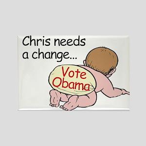 Chris Needs Change - Vote Oba Rectangle Magnet