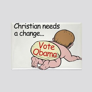 Christian Needs Change - Vote Rectangle Magnet