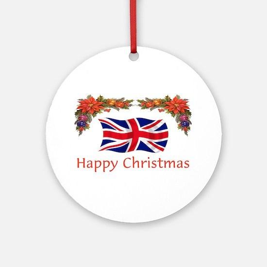 British Happy Christmas Ornament (Round)