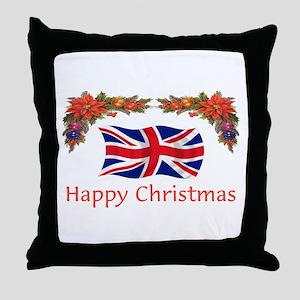 British Happy Christmas Throw Pillow