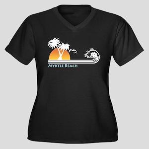 Myrtle Beach Women's Plus Size V-Neck Dark T-Shirt