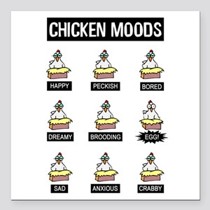 "Chicken Moods Square Car Magnet 3"" x 3"""