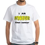 Stronger Than Cancer (yellow) White T-Shirt