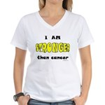 Stronger Than Cancer (yellow) Women's V-Neck T-Shi