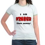 Stronger Than Cancer (red) Jr. Ringer T-Shirt