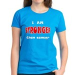 Stronger Than Cancer (red) Women's Dark T-Shirt