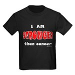 Stronger Than Cancer (red) Kids Dark T-Shirt