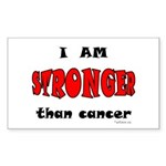 Stronger Than Cancer (red) Rectangle Sticker