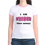 Stronger Than Cancer (pink) Jr. Ringer T-Shirt