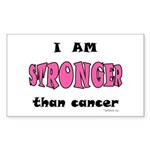 Stronger Than Cancer (pink) Rectangle Sticker