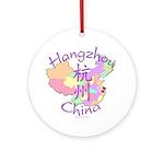 Hangzhou China Map Ornament (Round)