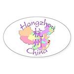 Hangzhou China Map Oval Sticker (10 pk)