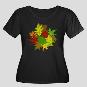 Fall Foliage Leaves Women's Plus Size Scoop Neck D