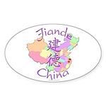 Jiande China Map Oval Sticker (10 pk)