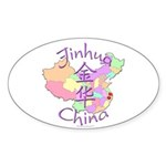 Jinhua China Map Oval Sticker (10 pk)