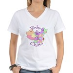 Jinhua China Map Women's V-Neck T-Shirt