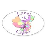 Lanxi China Map Oval Sticker (10 pk)