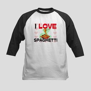 I Love Spaghetti Kids Baseball Jersey
