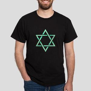 Sea Green Star of David Dark T-Shirt