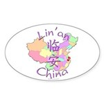 Lin'an China Map Oval Sticker (10 pk)